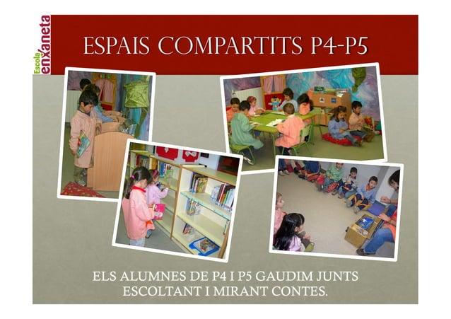 !   Espais compartits P4-P5    ELS ALUMNES DE P4 I P5 GAUDIM JUNTS        ESCOLTANT I MIRANT CONTES.