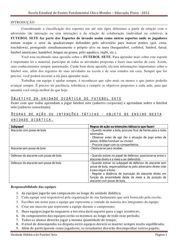 Escola Estadual de Ensino Fundamental Chico Mendes – Educação Física - 2012INTRODUÇÃO       Considerando a classificação d...
