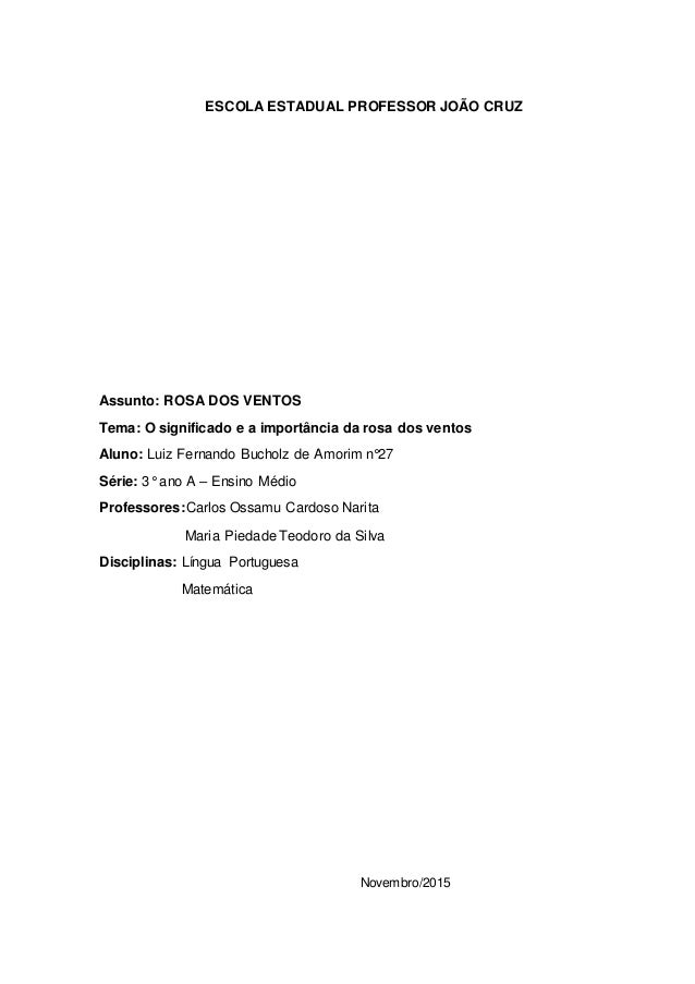 ESCOLA ESTADUAL PROFESSOR JOÃO CRUZ Assunto: ROSA DOS VENTOS Tema: O significado e a importância da rosa dos ventos Aluno:...