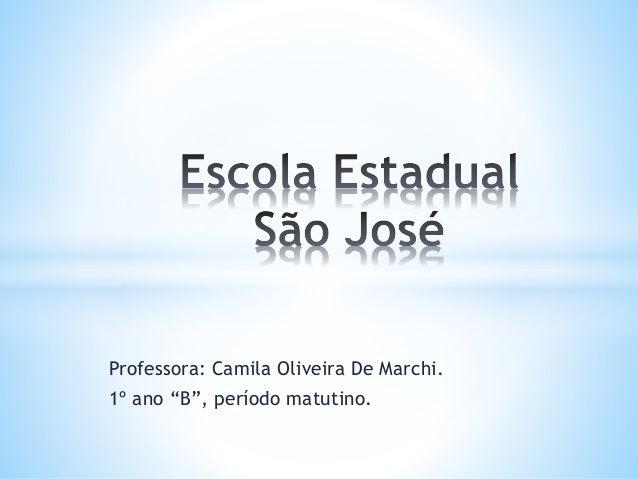 """Professora: Camila Oliveira De Marchi.  1º ano """"B"""", período matutino."""