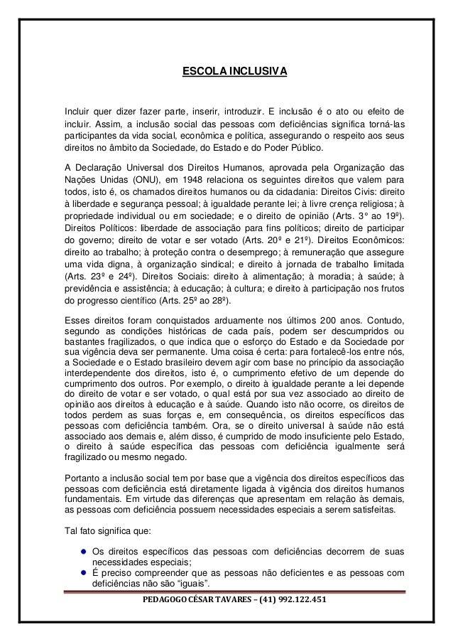 PEDAGOGO CÉSAR TAVARES – (41) 992.122.451 ESCOLA INCLUSIVA Incluir quer dizer fazer parte, inserir, introduzir. E inclusão...