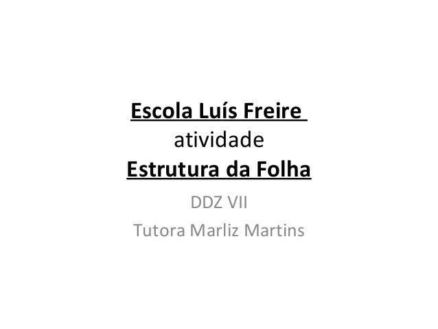 Escola Luís Freire atividade Estrutura da Folha DDZ VII Tutora Marliz Martins