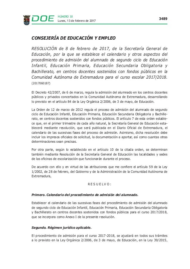 Lunes, 13 de febrero de 2017 3489 NÚMERO 30 CONSEJERÍA DE EDUCACIÓN Y EMPLEO RESOLUCIÓN de 8 de febrero de 2017, de la Sec...