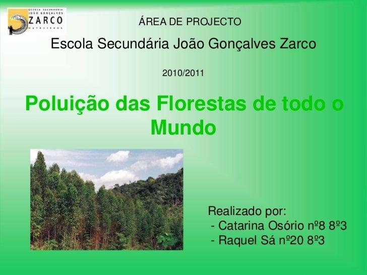 Escola Secundária João Gonçalves Zarco<br />ÁREA DE PROJECTO<br />2010/2011<br />Poluição das Florestas de todo o Mundo<br...