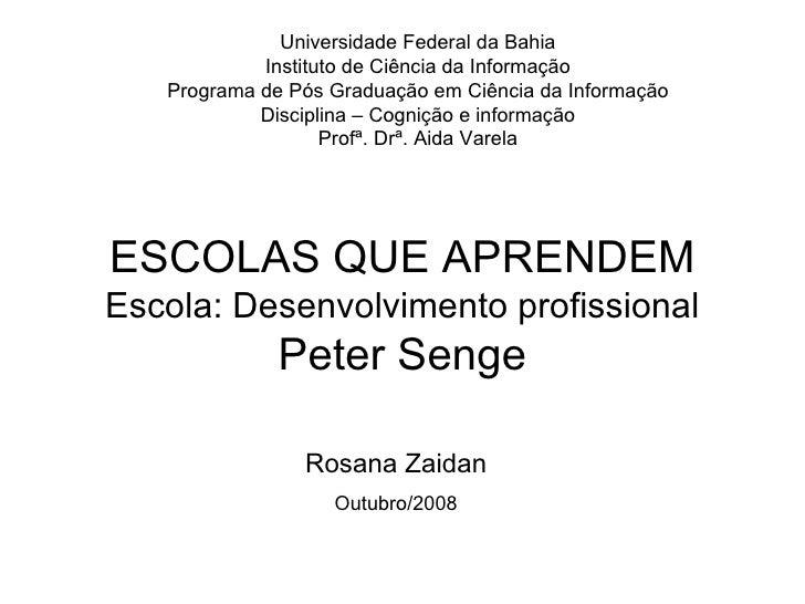 ESCOLAS QUE APRENDEM Escola: Desenvolvimento profissional Peter Senge Universidade Federal da Bahia Instituto de Ciência d...