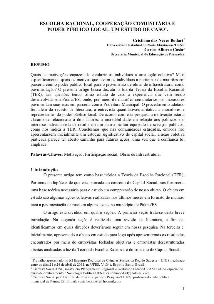 ESCOLHA RACIONAL, COOPERAÇÃO COMUNITÁRIA E       PODER PÚBLICO LOCAL: UM ESTUDO DE CASO1.                                 ...