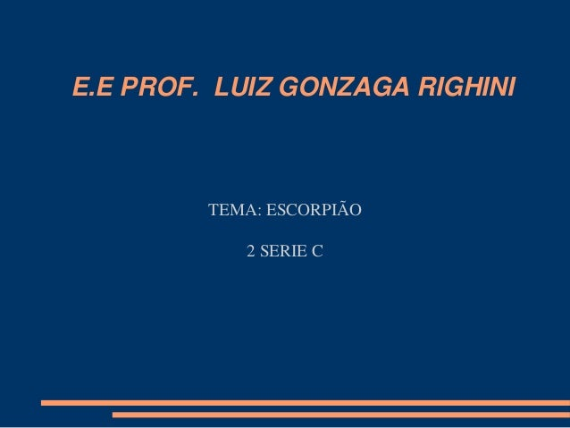 E.E PROF. LUIZ GONZAGA RIGHINI TEMA: ESCORPIÃO 2 SERIE C