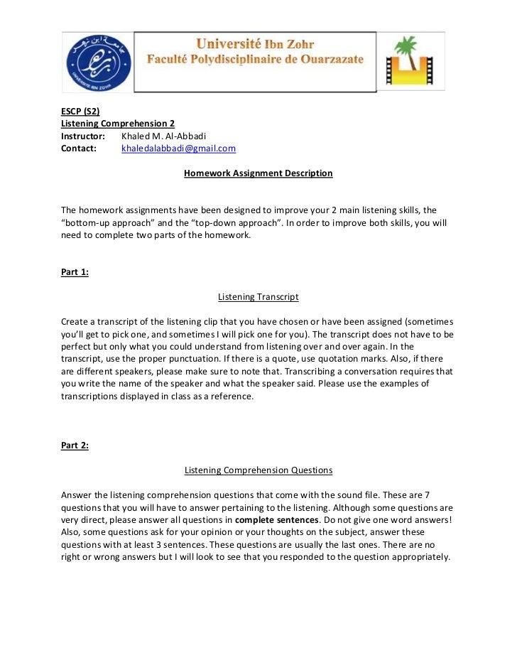 ESCP (S2)Listening Comprehension 2Instructor:  Khaled M. Al-AbbadiContact:     khaledalabbadi@gmail.com                   ...