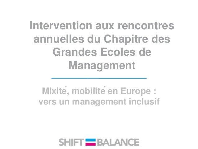 Intervention aux rencontres annuelles du Chapitre des Grandes Ecoles de Management Mixité, mobilité en Europe : vers un ...