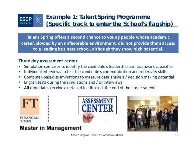 11 Example 1: Talent Spring Programme (Specific track to enter the School's flagship) AndreasKaplan– DeanforAcademic A...