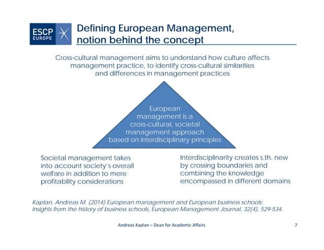 7 Defining European Management, notion behind the concept Kaplan, Andreas M. (2014) European management and European busin...