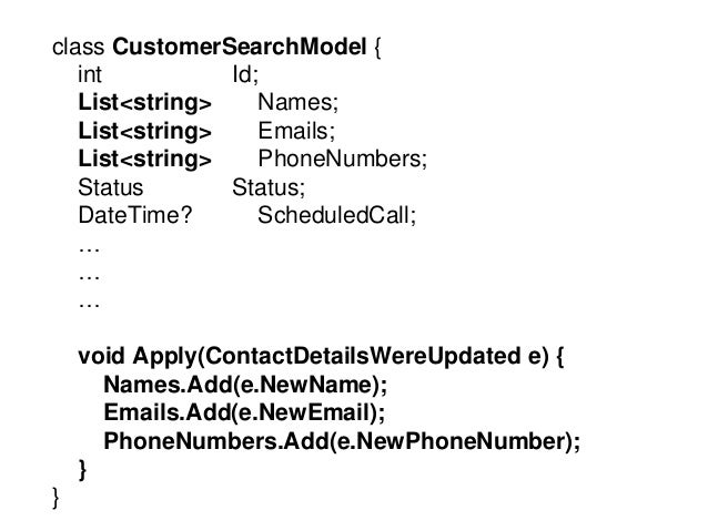 class Customer { int Id; string Name; string Email; string PhoneNumber; Status Status; DateTime? ScheduledCall; List<IEven...