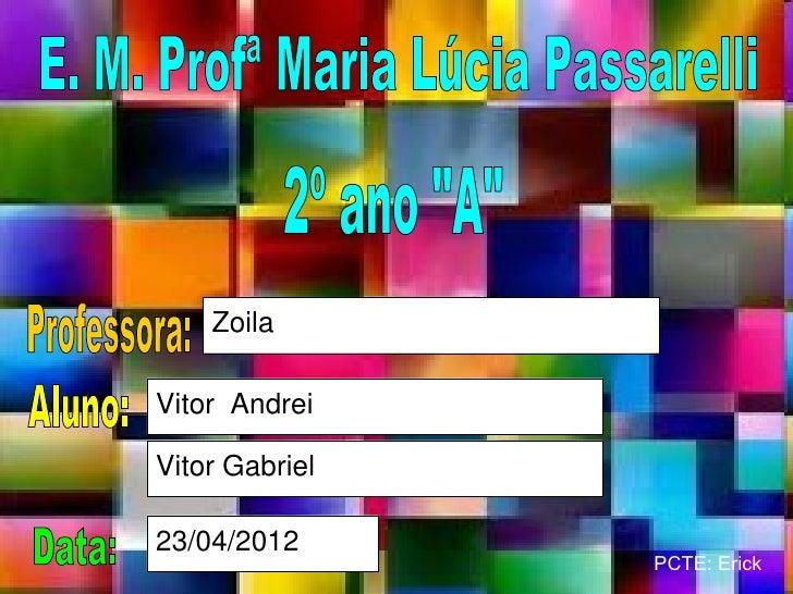 ZoilaVitor AndreiVitor Gabriel23/04/2012                PCTE: Erick