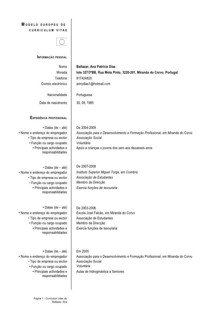 MODELO         EUROPEU DE        CURRICULUM VITAE                  INFORMAÇÃO PESSOAL                                   No...