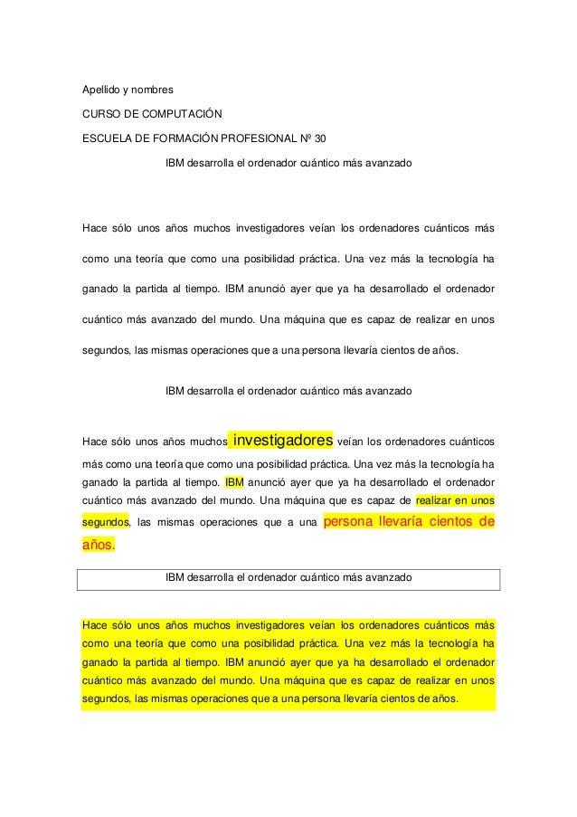 Apellido y nombresCURSO DE COMPUTACIÓNESCUELA DE FORMACIÓN PROFESIONAL Nº 30                IBM desarrolla el ordenador cu...