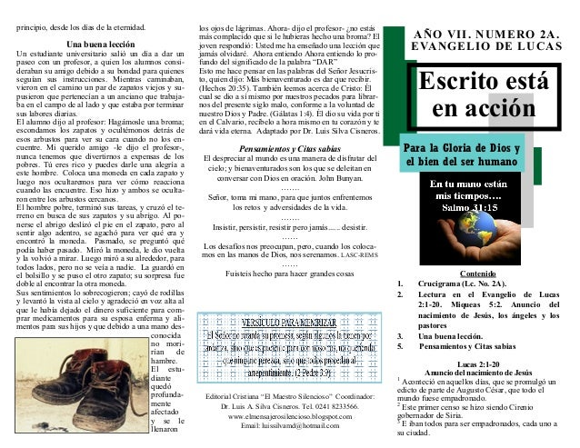 """Escrito está en acción Para la Gloria de Dios y el bien del ser humano Editorial Cristiana """"El Maestro Silencioso"""" Coordin..."""