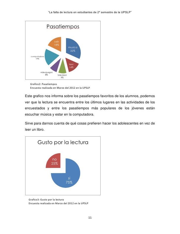 """La falta de lectura en estudiantes de 2º semestre de la UPSLP""                  Pasatiempos                         salir..."
