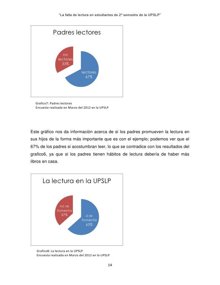 """""""La falta de lectura en estudiantes de 2º semestre de la UPSLP""""             Padres lectores                    no         ..."""