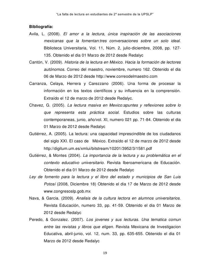 """""""La falta de lectura en estudiantes de 2º semestre de la UPSLP""""Bibliografía:Avila, L. (2008). El amor a la lectura, única ..."""
