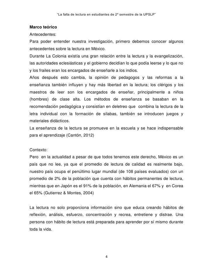 """La falta de lectura en estudiantes de 2º semestre de la UPSLP""Marco teóricoAntecedentes:Para poder entender nuestra inves..."