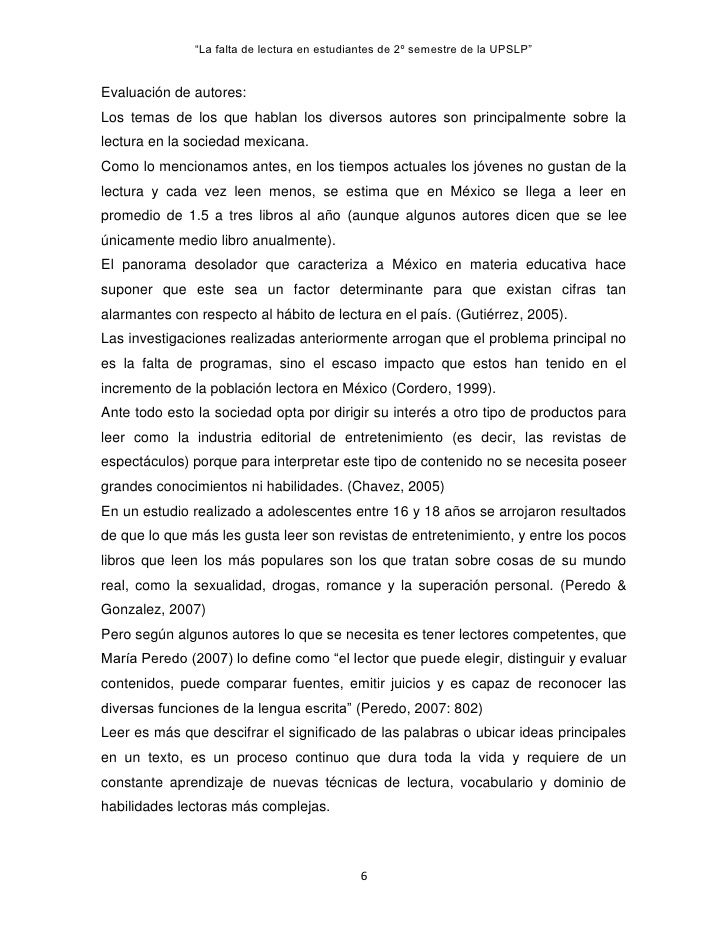 """""""La falta de lectura en estudiantes de 2º semestre de la UPSLP""""Evaluación de autores:Los temas de los que hablan los diver..."""