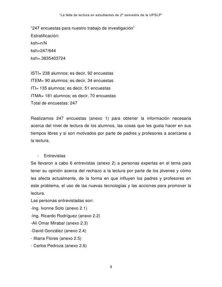 """""""La falta de lectura en estudiantes de 2º semestre de la UPSLP""""""""247 encuestas para nuestro trabajo de investigación""""Estrat..."""