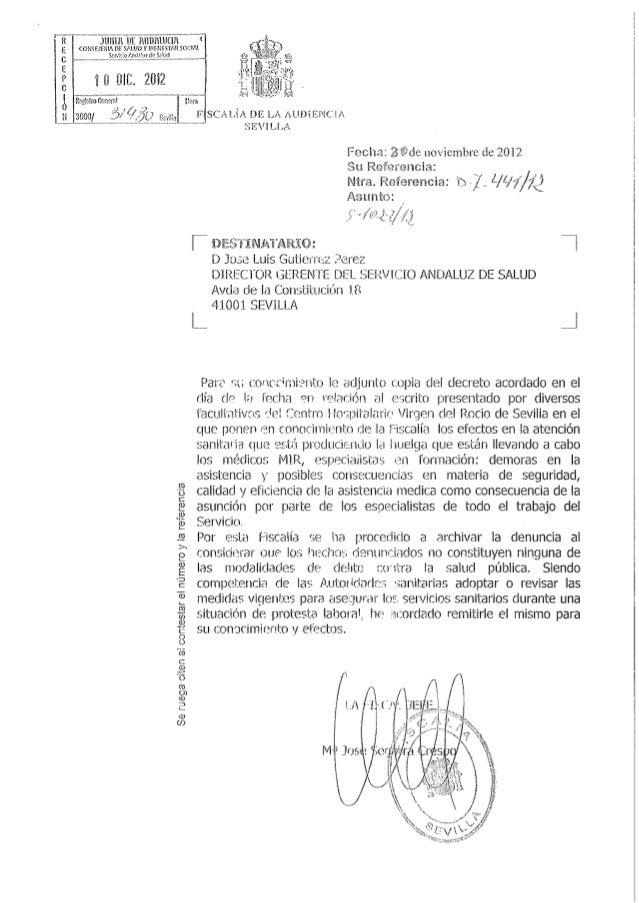 Escrito fiscalía desestimatorio denuncia algunos facultativos Virgen del Rocío