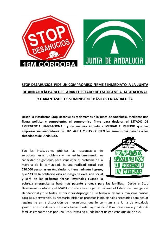 STOP DESAHUCIOS PIDE UN COMPROMISO FIRME E INMEDIATO A LA JUNTA  DE ANDALUCÍA PARA DECLARAR EL ESTADO DE EMERGENCIA HABITA...