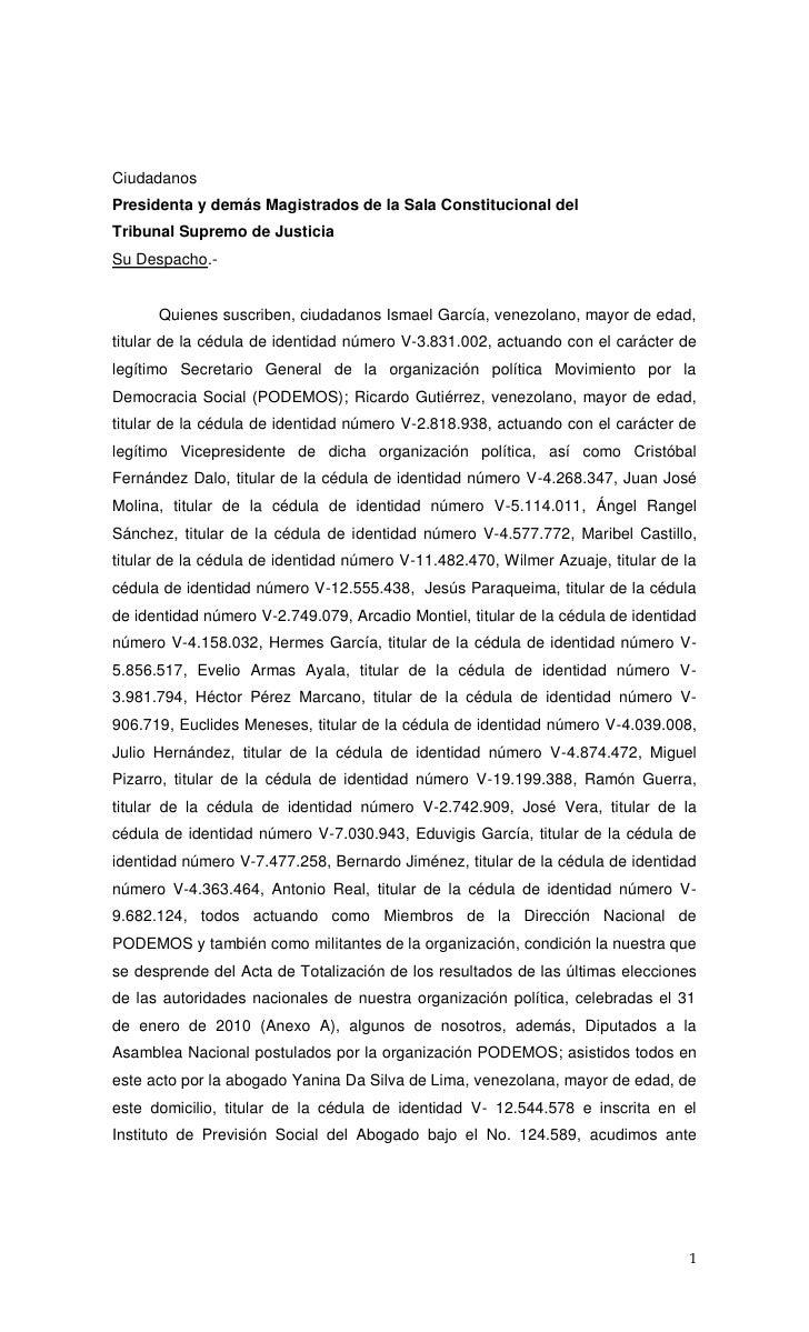 CiudadanosPresidenta y demás Magistrados de la Sala Constitucional delTribunal Supremo de JusticiaSu Despacho.-      Quien...