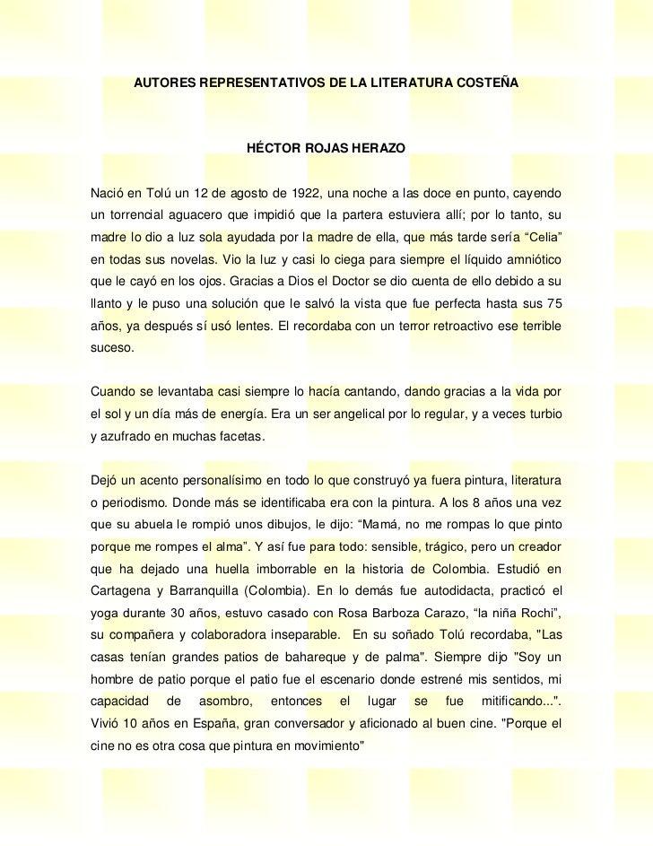 AUTORES REPRESENTATIVOS DE LA LITERATURA COSTEÑA                            HÉCTOR ROJAS HERAZONació en Tolú un 12 de agos...
