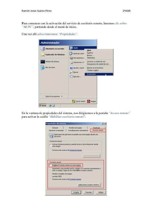 Escritorio remoto con soporte web windows server 2003 - Activar escritorio remoto windows xp ...