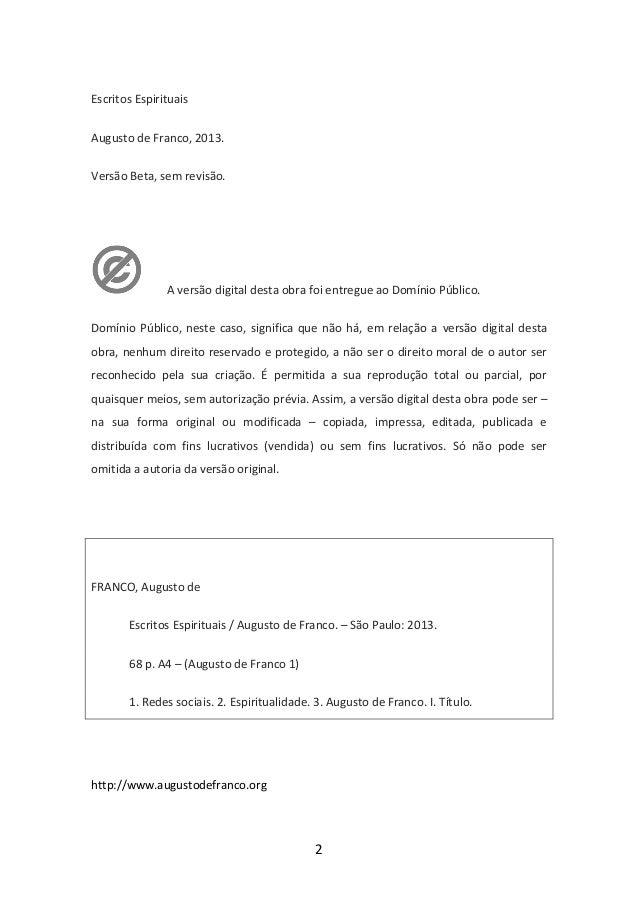 Escritos Espirituais de Augusto de Franco Slide 2
