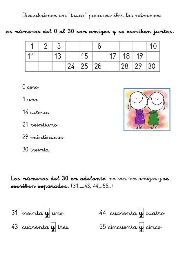 """Descubrimos un """"truco"""" para escribir los números: Los números del 0 al 30 son amigos y se escriben juntos. 0 cero 1 uno 14..."""