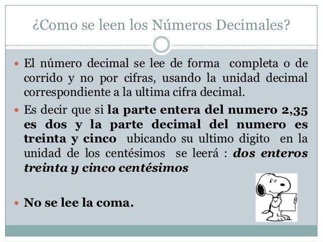 escritura y lectura de decimales