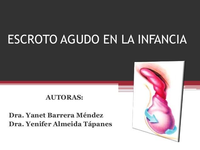 ESCROTO AGUDO EN LA INFANCIA AUTORAS: Dra. Yanet Barrera Méndez Dra. Yenifer Almeida Tápanes