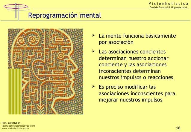 Visionholistica Cambio Personal & Organizacional  Reprogramación mental  La mente funciona básicamente  por asociación  ...