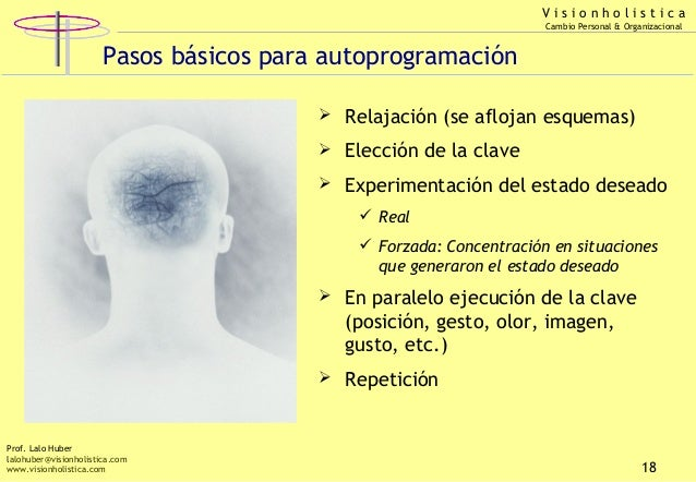 Visionholistica Cambio Personal & Organizacional  Pasos básicos para autoprogramación  Relajación (se aflojan esquemas) ...