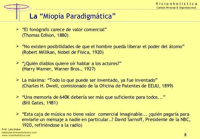 """Visionholistica Cambio Personal & Organizacional  La """"Miopía Paradigmática""""   """"El fonógrafo carece de valor comercial"""" (T..."""