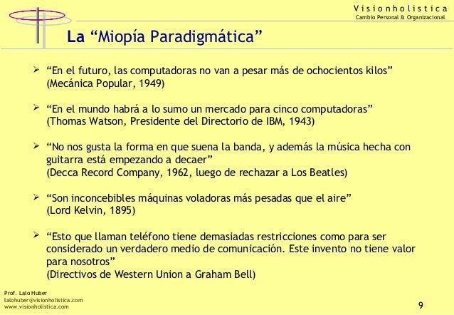 """Visionholistica Cambio Personal & Organizacional  La """"Miopía Paradigmática""""  """"En el futuro, las computadoras no van a pes..."""