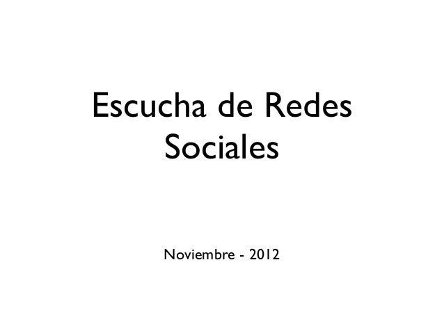 Escucha de Redes    Sociales    Noviembre - 2012