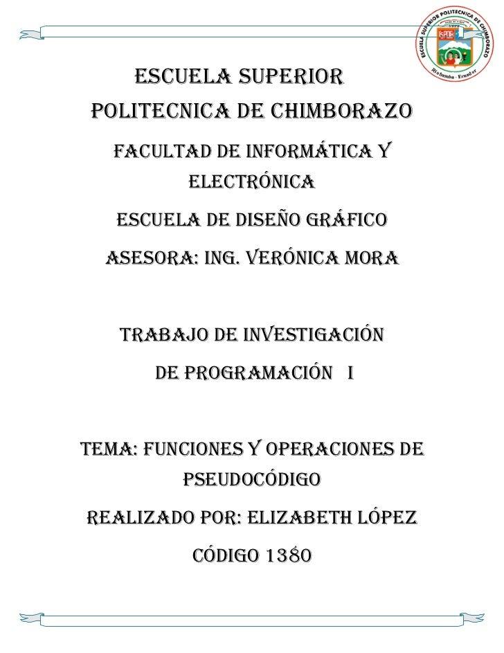 ESCUELA SUPERIORPOLITECNICA DE CHIMBORAZO   FACULTAD DE INFORMÁTICA Y          ELECTRÓNICA   ESCUELA DE DISEÑO GRÁFICO  As...
