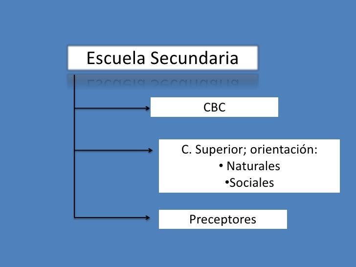 Escuela Secundaria               CBC           C. Superior; orientación:                 • Naturales                  •Soc...