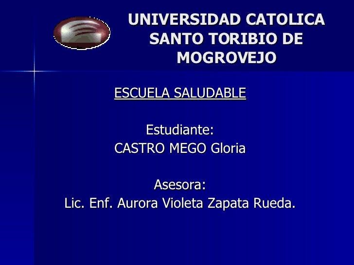 UNIVERSIDAD CATOLICA SANTO TORIBIO DE MOGROVEJO ESCUELA SALUDABLE Estudiante: CASTRO MEGO Gloria Asesora: Lic. Enf. Aurora...