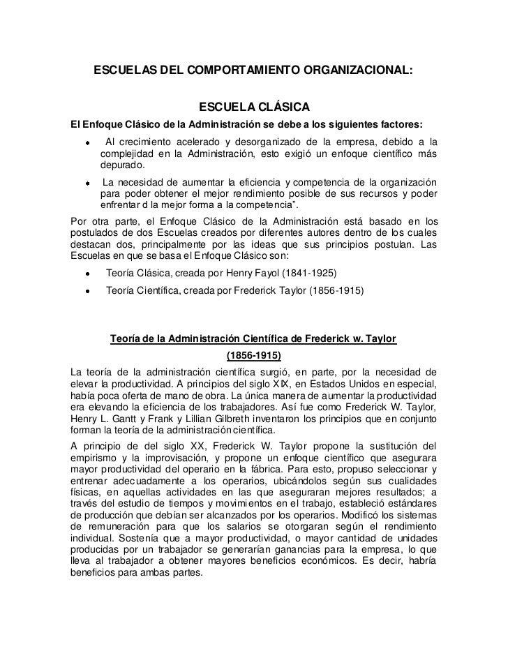 ESCUELAS DEL COMPORTAMIENTO ORGANIZACIONAL:                             ESCUELA CLÁSICAEl Enfoque Clásico de la Administra...
