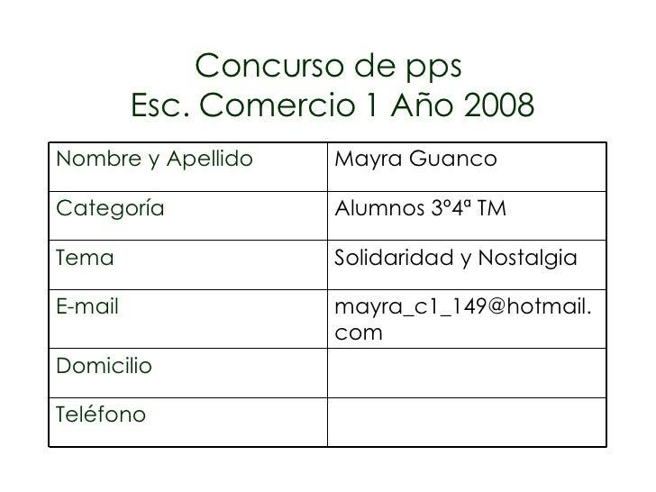 Concurso de pps Esc. Comercio 1 Año 2008 Teléfono Domicilio [email_address] E-mail Solidaridad y Nostalgia Tema Alumnos 3º...