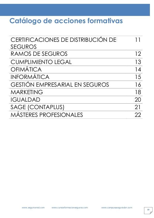 www.segurosred.com www.cursosformacionseguros.com www.campusasegurador.com 10 Catálogo de acciones formativas CERTIFICACIO...