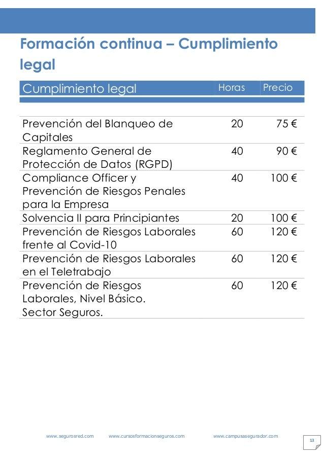 www.segurosred.com www.cursosformacionseguros.com www.campusasegurador.com 13 Formación continua – Cumplimiento legal Cump...