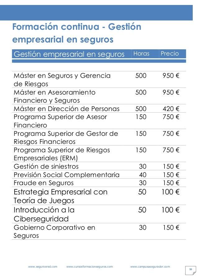 www.segurosred.com www.cursosformacionseguros.com www.campusasegurador.com 16 Formación continua - Gestión empresarial en ...