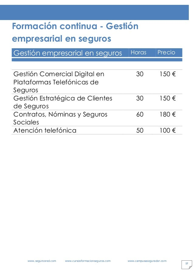 www.segurosred.com www.cursosformacionseguros.com www.campusasegurador.com 17 Formación continua - Gestión empresarial en ...