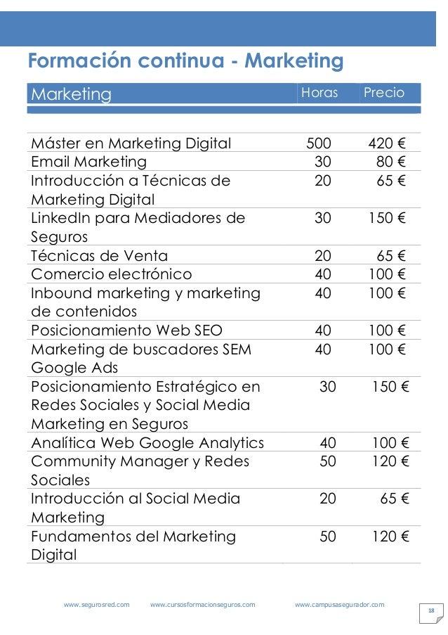 www.segurosred.com www.cursosformacionseguros.com www.campusasegurador.com 18 Formación continua - Marketing Marketing Hor...